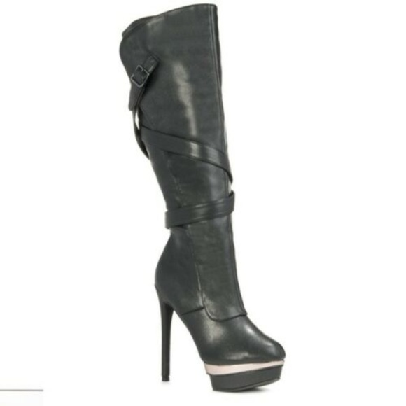 JUST FAB WOMEN/'S HIGH HEEL BOOTS BLACK